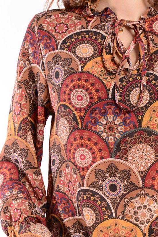 Bluzka SISI we wzory brązowe