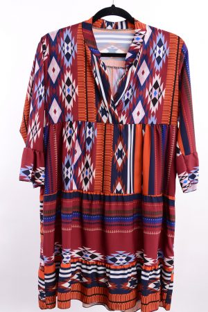 Sukienka AZTEC bordowa