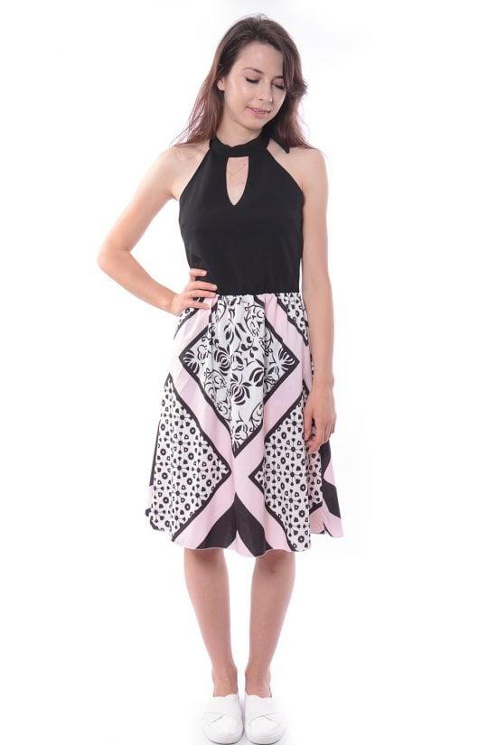 Sukienka VINCI czarno-różowa
