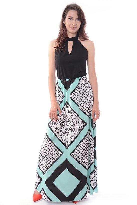Sukienka VINCI długa czarno-miętowa