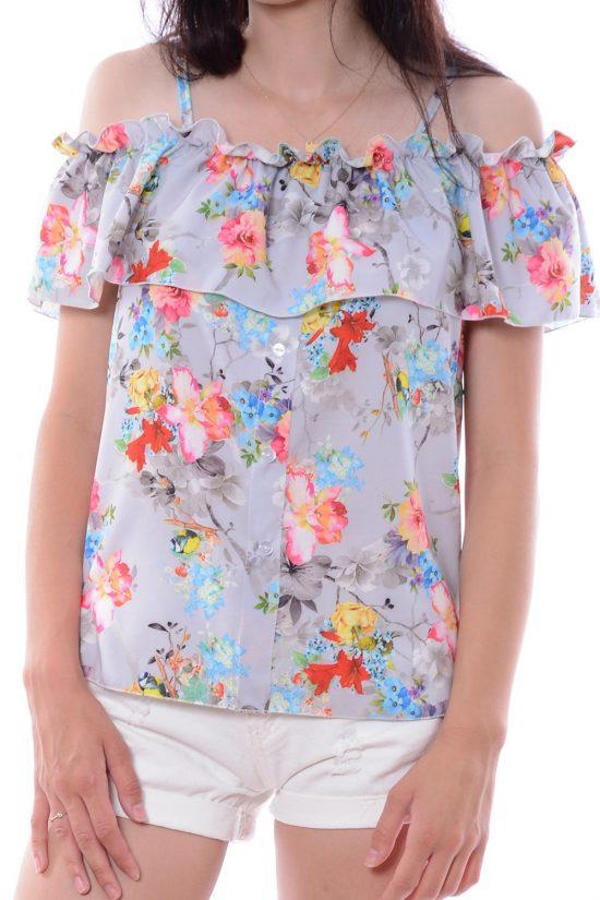 Bluzka KATHLEEN w kwiaty szara