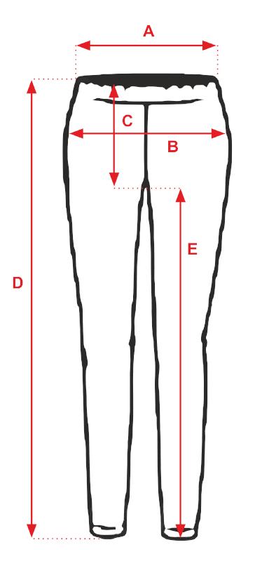 Spodnie Asia- tabela